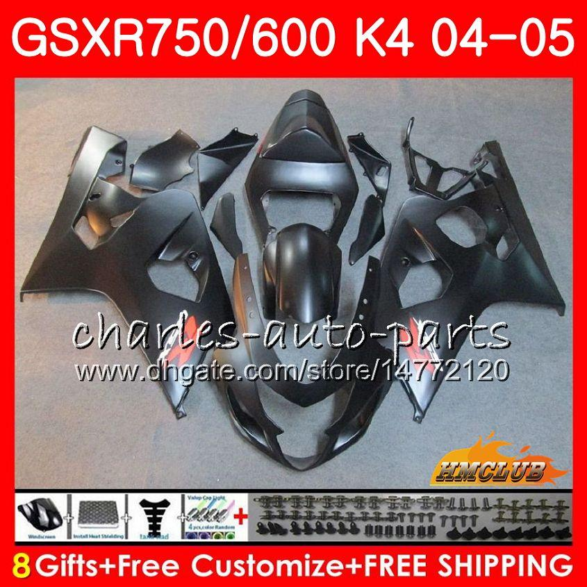 Carroçaria para Suzuki GSXR 750 GSX R750 GSX-R600 GSXR600 Matte Preto Quente 04 05 7HC.22 GSXR-750 GSXR 600 04 05 K4 GSXR750 2004 2005 Kit de Feira