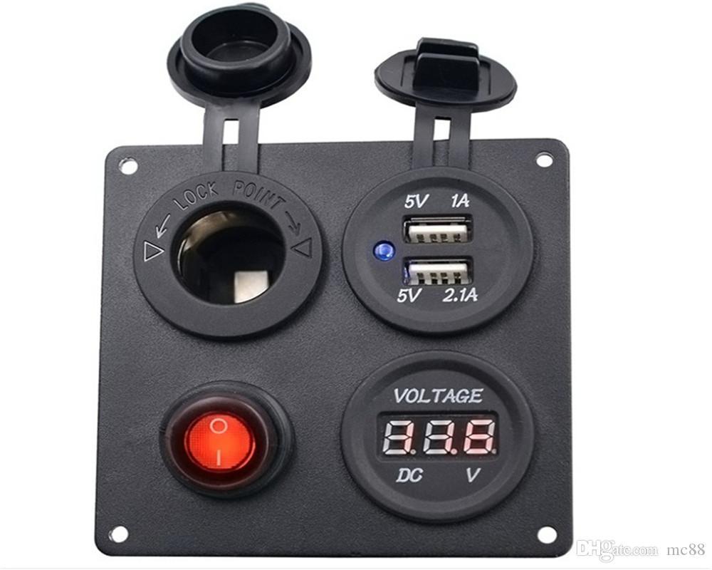 Dual USB Socket Charger 1A & 2.1A + LED Voltmeter + 12V power outlet Waterproof for Car Marine Boat Truck RV Camper Vehicles