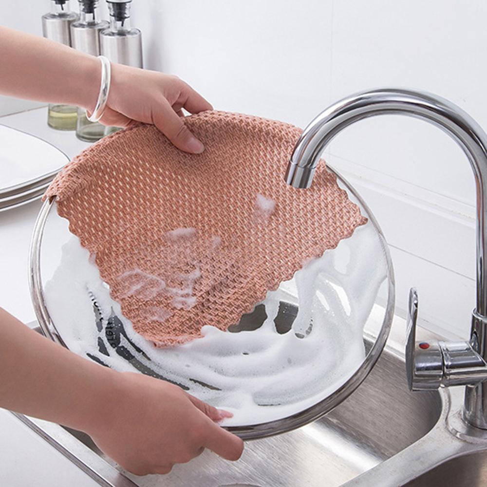 Cozinha Anti-graxa limpeza trapos eficiente Super absorvente microfibra pano de limpeza de lavagem casa cozinha prato toalha de limpeza