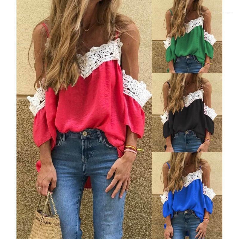 Solide Bügel-T-Shirt Farben-Kurzschluss-Hülsen-lose V-Ausschnitt Panelled Gelegenheits Tees Famale Kleidung Damen trägerlose Spitze