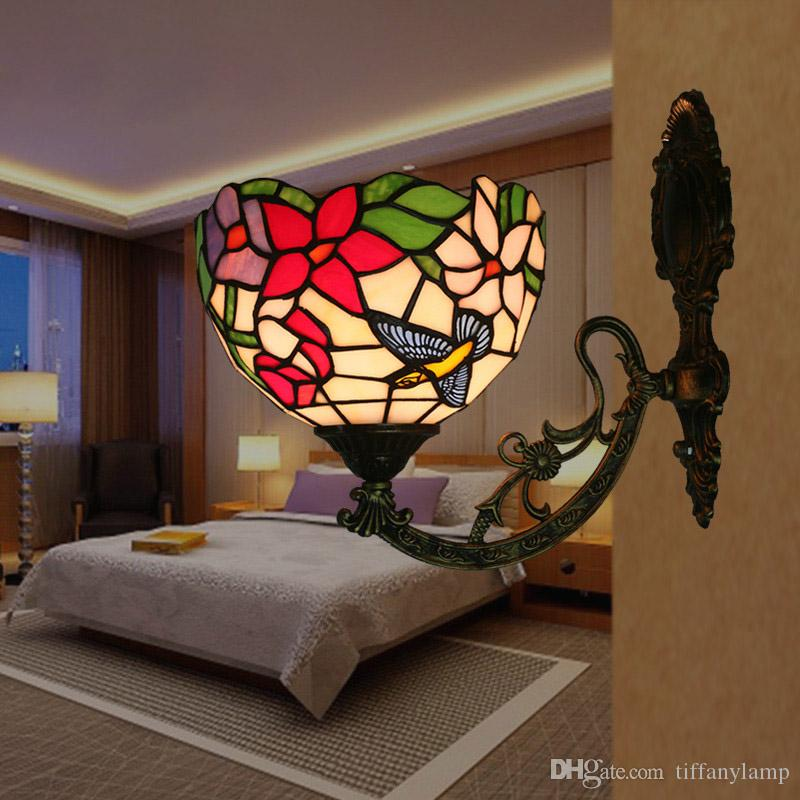 Stained Glass Flowers Bird Butterfly Sconce For Living Room Glass Shade Wall Lamp Art Corridor Lightings Modern Bedside LED Wall Lights