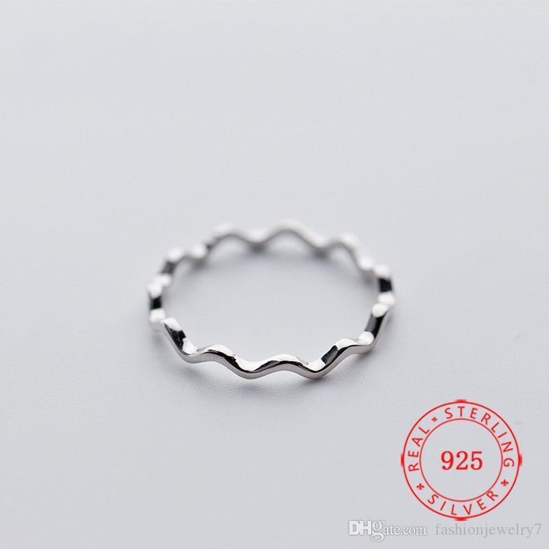 S925 sterling silver female Korea design simple 2 mm thin line curve smooth wave ring pinky ring fashion joint ring
