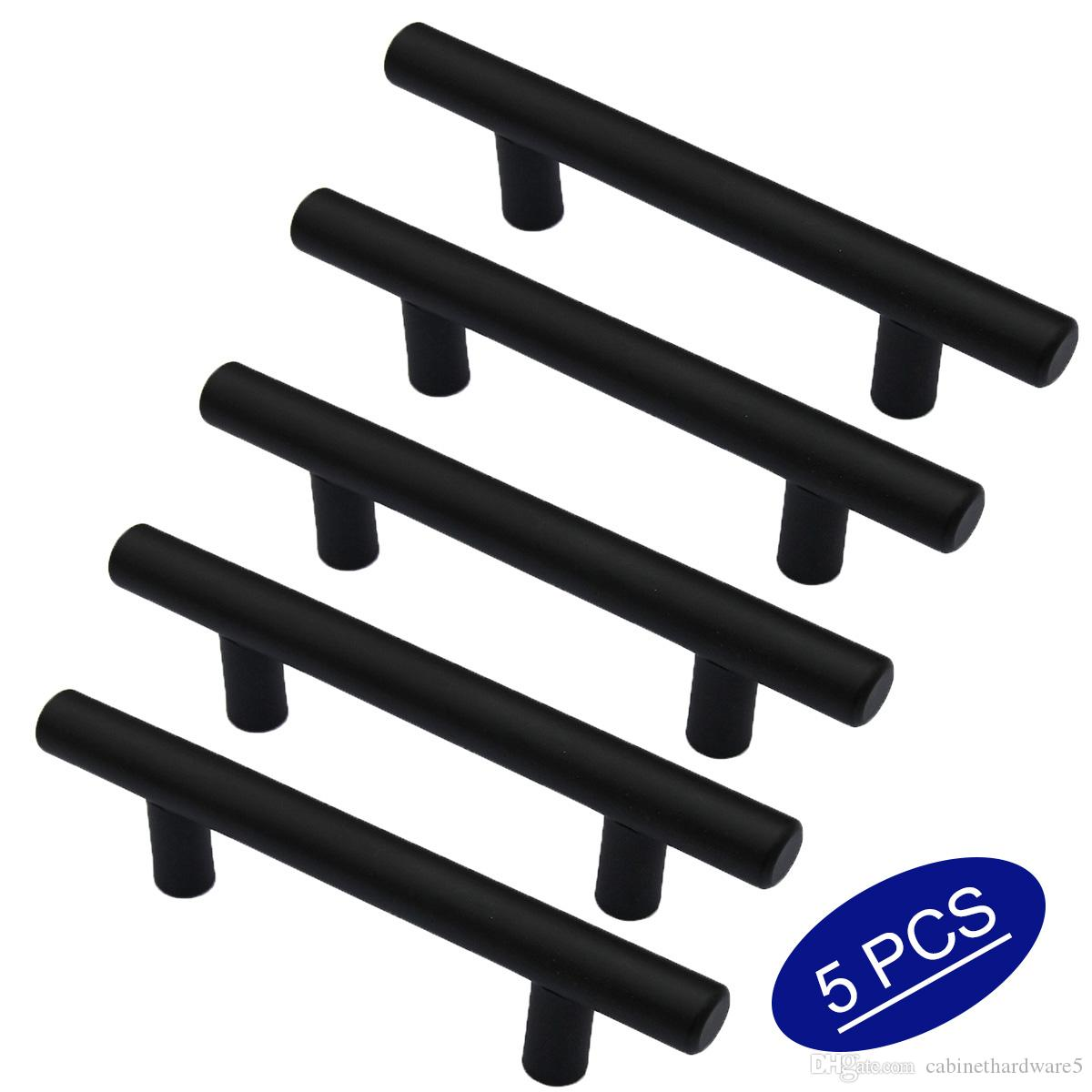 5 Pieces Flat Black Kitchen Furniture Cabinet Pull Handles 3 inch 76mm hole Spacing, Round Tube T Bar Cupboard Closet Door Drawer Knobs