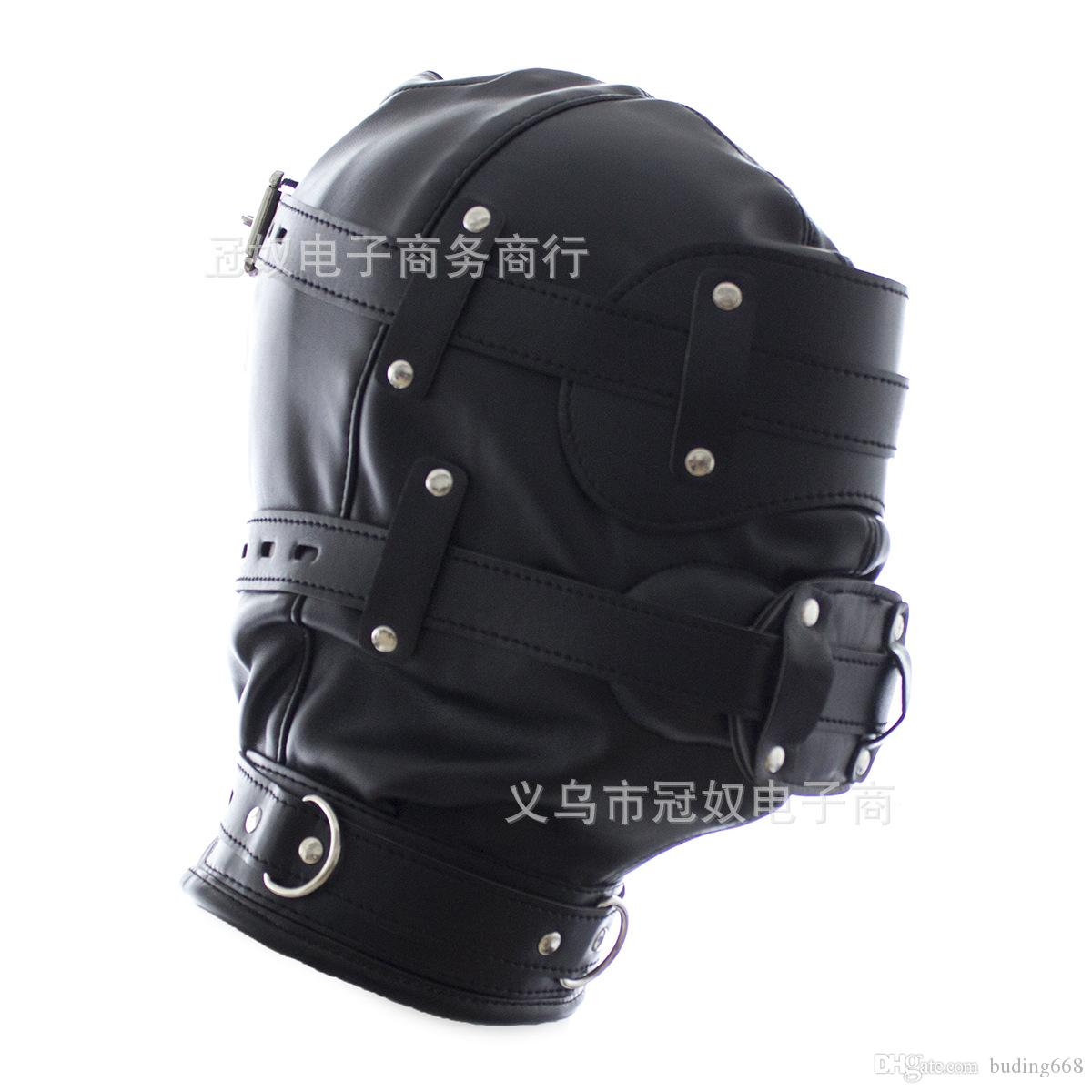 2020 Erotic Sex BDSM Bondage Leather Hood for Adult Play Games Full Masks Fetish Face Blindfold for Couple Games W996