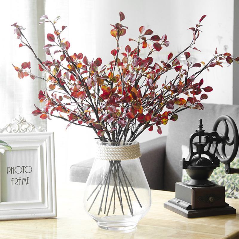인공 잎 분기 레드 실크 미니 손 잎 홈 장식 웨딩 가짜 식물 가짜 직물 단풍 룸 장식