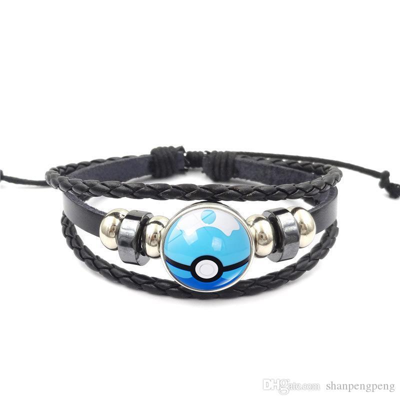 Anime pattern hot sale handmade diy black leather rope woven beaded bracelet time gem bracelet jewelry wholesale variety optional