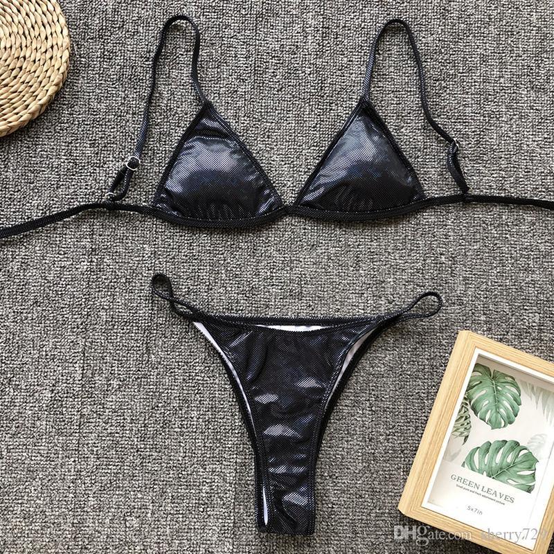 Sexy ouro reflexivo triângulo de couro biquíni 2019 mulheres swimwear tanga mini bikini set push up swimsuit acolchoado maiô biquini HISIMPLE