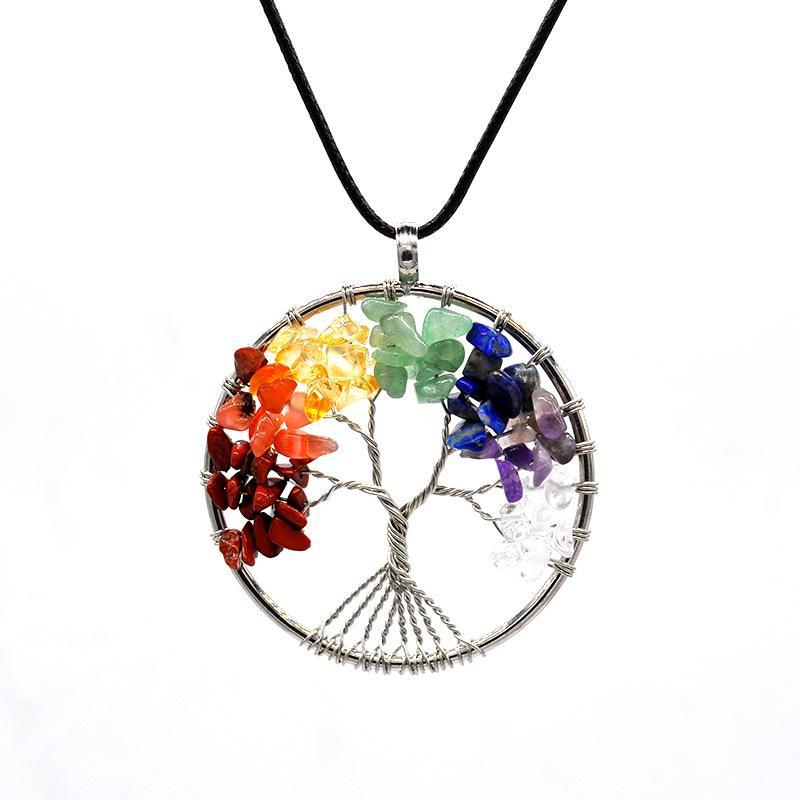 شجرة الحياة قلادة 7 شقرا ستون الخرز الحجر الطبيعي قلادة سلسلة حبل قلادة القلائد بيان مجوهرات هدية للمرأة الرجال
