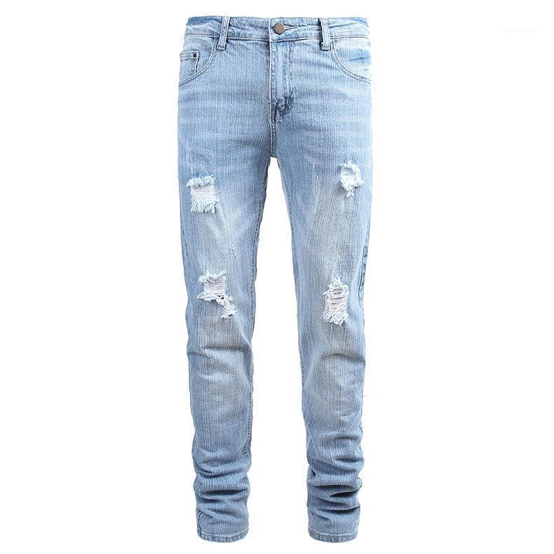 Hole Summere Blue Button diritta del nuovo progettista Homme Abbigliamento casual Abbigliamento Moda Uomo Jeans Luce Stile