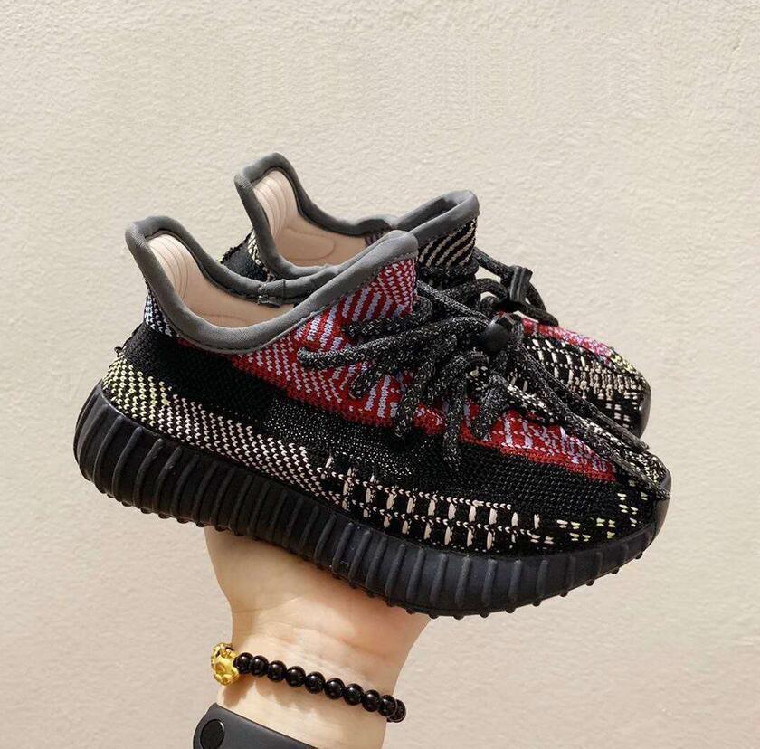 hot sale Kid Clay V2 Running Shoes Kanye West Blakc Static 3M Reflective Zebra Beluga 2.0 Boy Girl Sport Sneakers