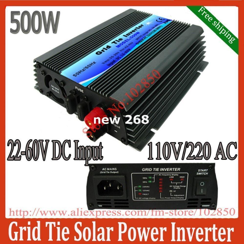 Freeshipping 500W mppt grid tie solar inverter,pure sine wave power inverter ,22-60V DC input,120/230V AC output,CE,