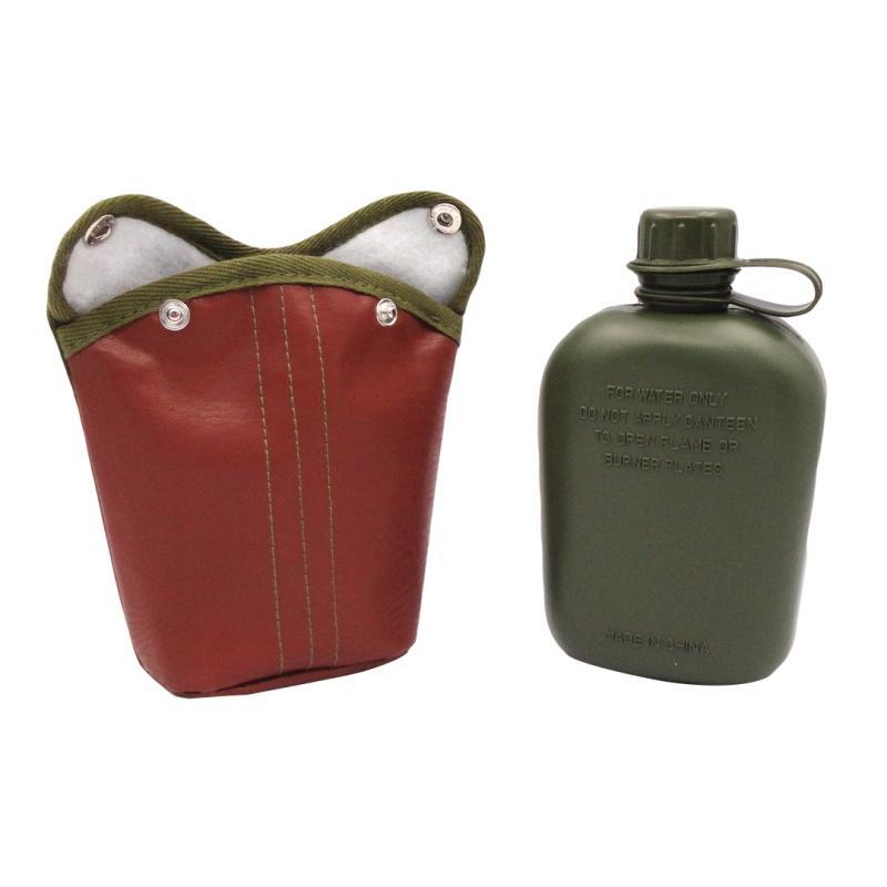 Deri Kapak kapağı ile 1L Açık Spor Askeri Av Kantin Şişe Plastik Kamp Yürüyüş Survival Su Şişesi Kettle