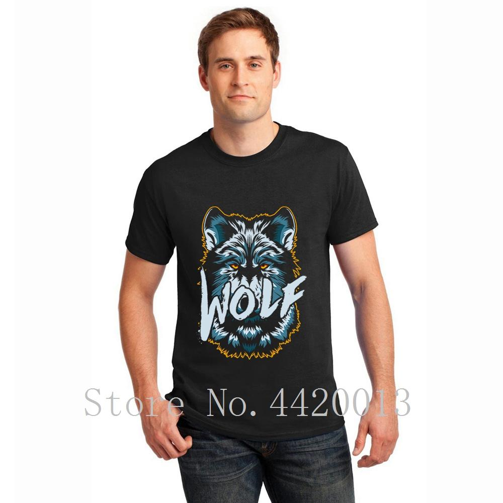Designs Collier à manches courtes ronde solitaire vêtements prédateur animal loup Intéressant cool Printemps Casual Top Pop hommes T-shirt t