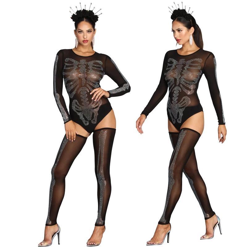 핫 섹시한 여성 블랙 바디 수트 스타킹 세트 할로윈 의상을 착용 메쉬 레오타드 모조 다이아몬드 해골 나이트 클럽 댄스를 통해 참조