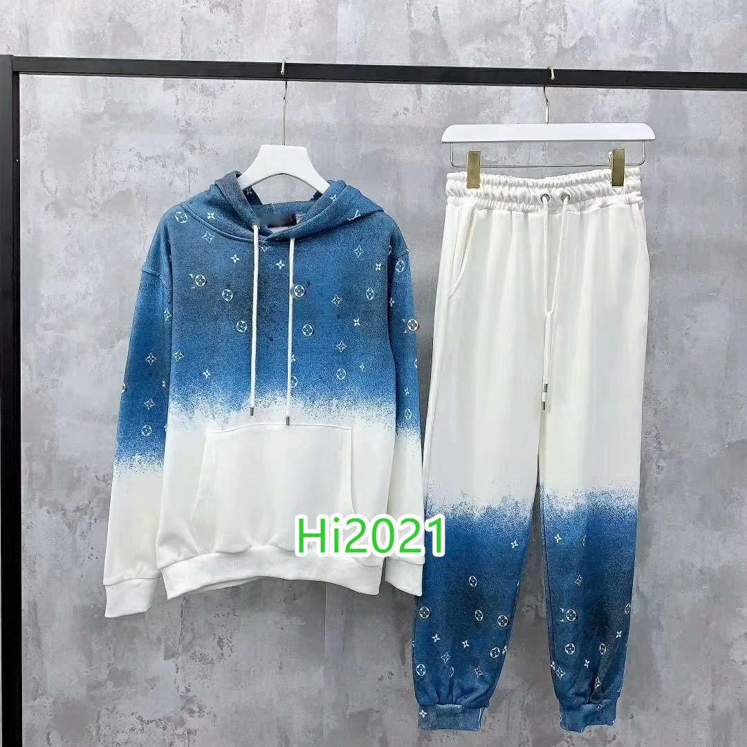 하이 엔드 여성 여자 캐주얼 그라데이션 풀오버 세트 모노그램 편지 프린트 셔츠 + 같은 레깅스 바지 2020 패션 고급스러운 디자인 느슨한 정장