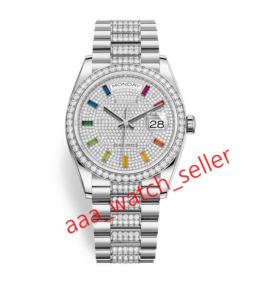2020 Последние Master роскошные мужские часы 36 мм Сни-дата M128349 118238 Полносапированный алмазный циферблат Rainbow Bezel Mechanical автоматическая наручные часы