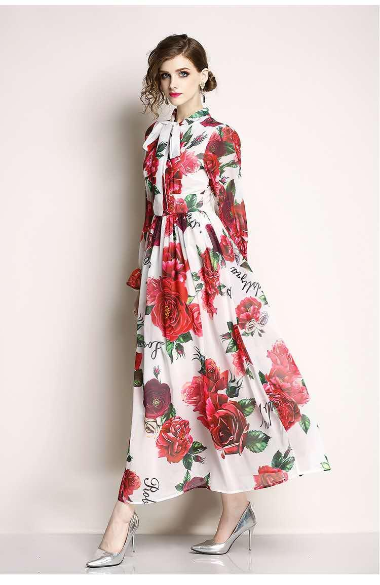 İlkbahar ve yaz 2020 yeni Avrupa istasyon zarif ve şık yay, renk, büyük salıncak bayan elbise, elbise, kız gül