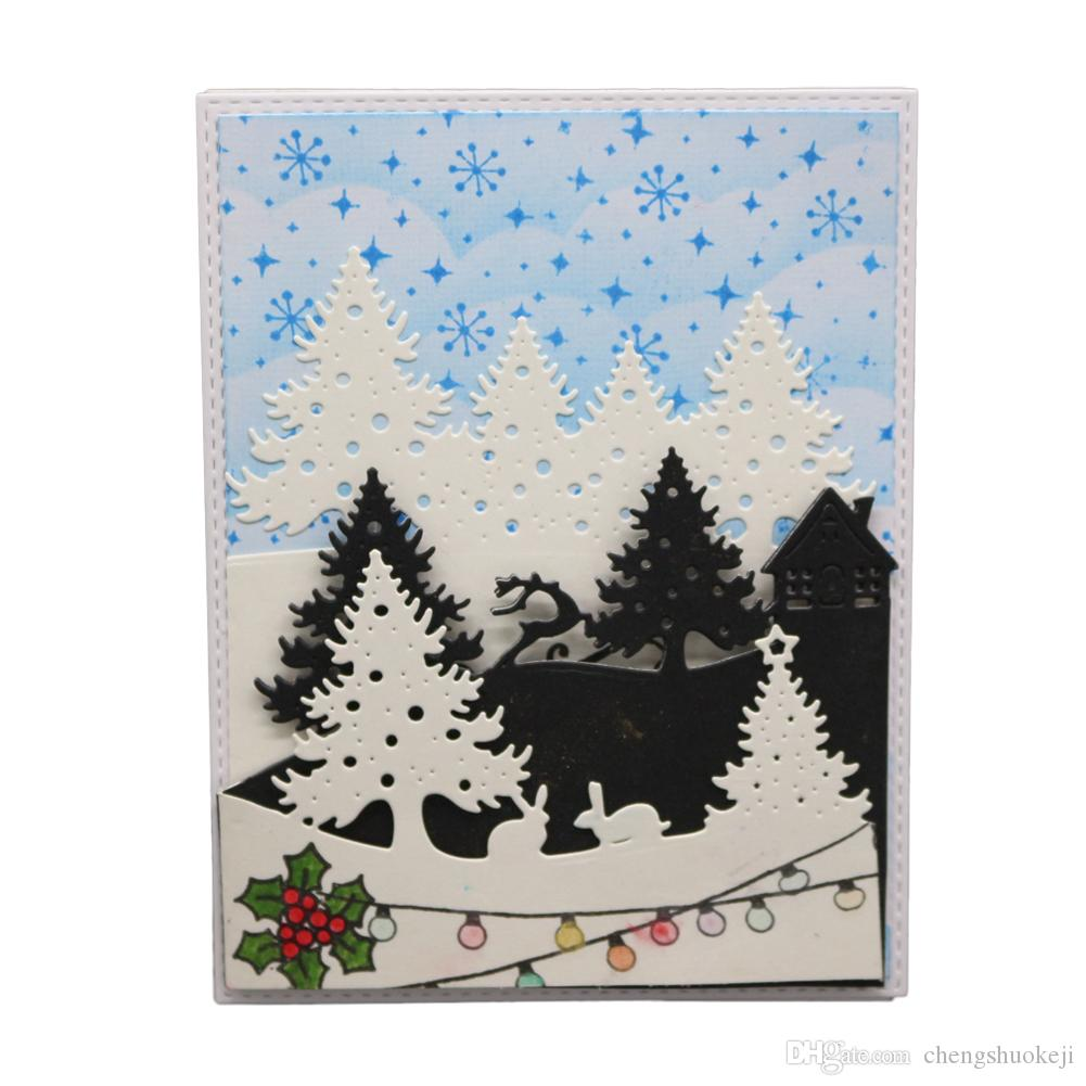 Winter Wood Christmas tree Metal Cutting Dies Stamp Stencil DIY Craft Embossing