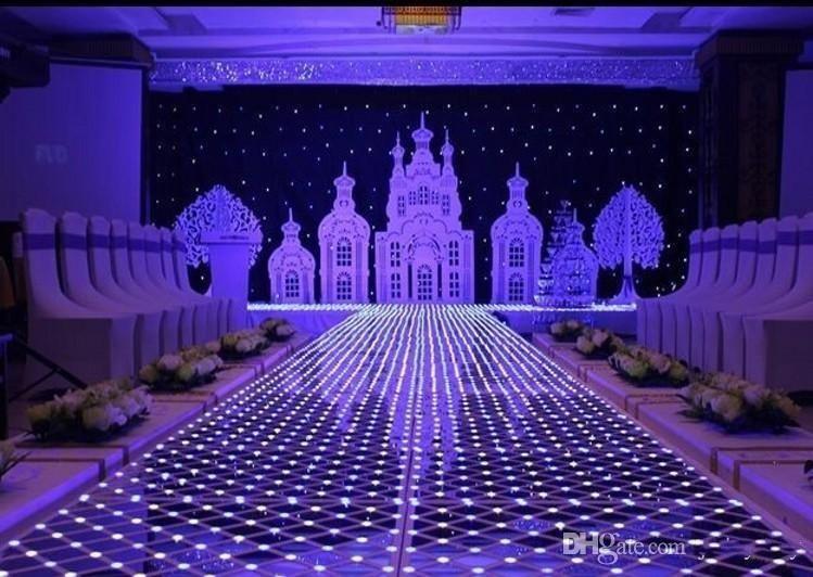 60CM * 60 سم لامعة كريستال LED الزفاف مرآة السجاد الممر عداء T محطة المرحلة الزفاف المركزية الديكور الدعائم 4PCS