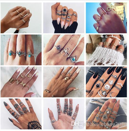 20 styles Bohemia Antique Gold Silver Elephant Flower Rose Heart Crown Carved Rings Set Knuckle Finger Midi Ring set for Women Jewelry ALXX