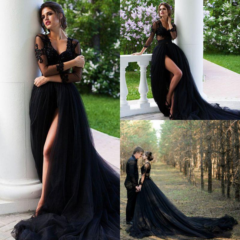 pays rustique noir robes de mariée gothiques v cou illusion top dentelle manches longues automne tulle robe de mariée longue train sexy hautes fentes 2019