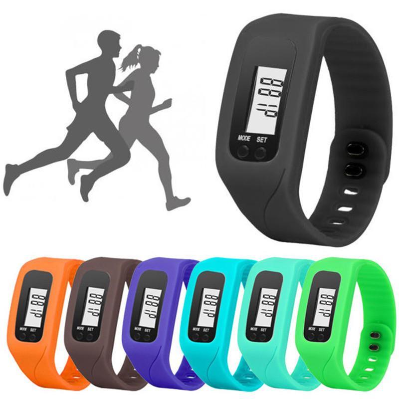 Montre de sport Hommes Femmes Numérique Lcd Podomètre Courir Étape Distance à pied Calorie Compteur Montre Bracelet Hommes Femmes Montre au poignet