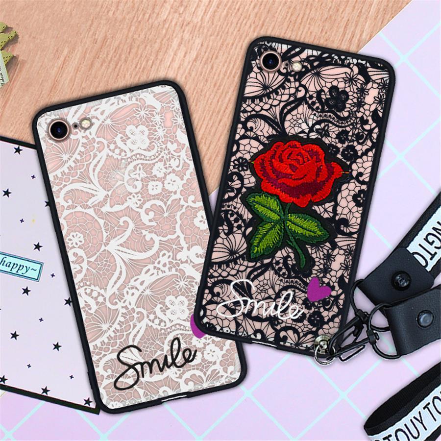 Arbeiten Sie reizvollen 3D-Rosen-Blumen-Telefon-Kasten für Apple iPhone 6 6S 7 8 Plus X 11 Woman Spitze rückseitige Abdeckung für iPhone SE mit Lanyard
