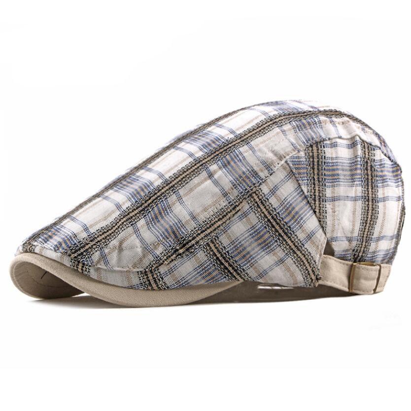 Unisex Ekose Bereliler Ayarlanabilir Visor Caps Sanatçının Açık Güneş Kap Nefes Kemik Ağız Şapkalar Erkekler Herringbone Katı Düz Viskor Zayıflık Blinders İngiliz Şapka