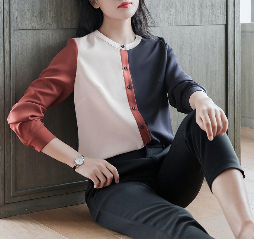 À manches longues en mousseline de soie col montant chemise femmes couture 2019 printemps nouvelle mode coréenne dames Blouse Tops lâche Plus la taille S-4XL