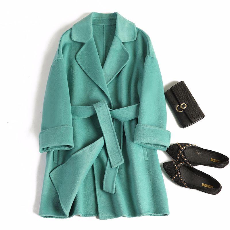2019 Medium-long soild double cashmere Winter Coat Women Wool jacket loose abrigo mujer autumn and winter new casaco feminino