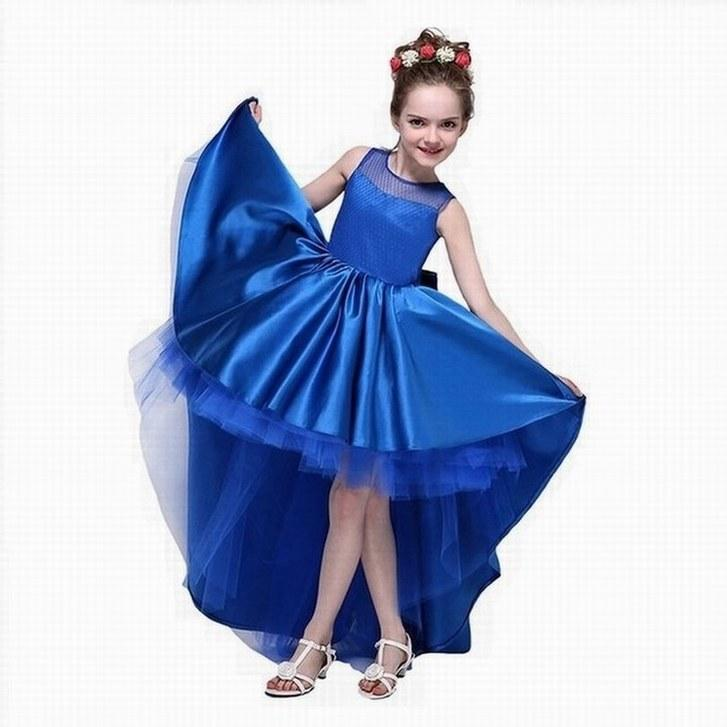 New Arrive Flower Girl Dresses High Low Scoop Sleeveless Hi Lo With Bow Back Satin Tulle Ball Gown Kids Wedding Party Gown 2019