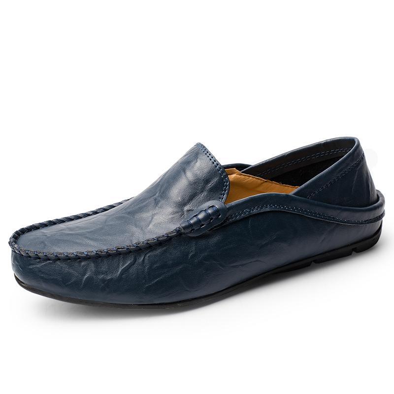 Herren Schuhe beiläufiger echtes Leder Mens Loafers Mokassins Designer Slip On Bootsschuhe Klassische Chaussure Homme Größe 38-46