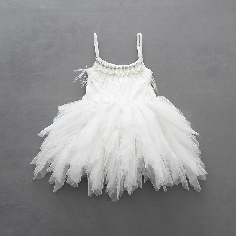 Retail Kids Flower Dresses for Wedding Girls Princess Dress Handmade Feather Pearl Bling Bling Irregular Tulle Children Frocks SH190908