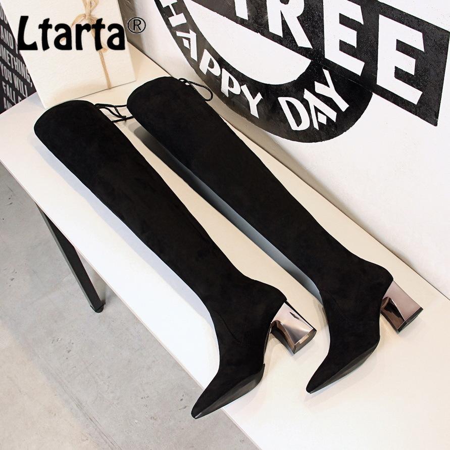 Frauen lange Stiefel Sexy schlanker Körper Rohr weibliche Stiefel mit hohen Absätzen spitzen sexy dünnen Nachtclub über das Knie DS-336-13
