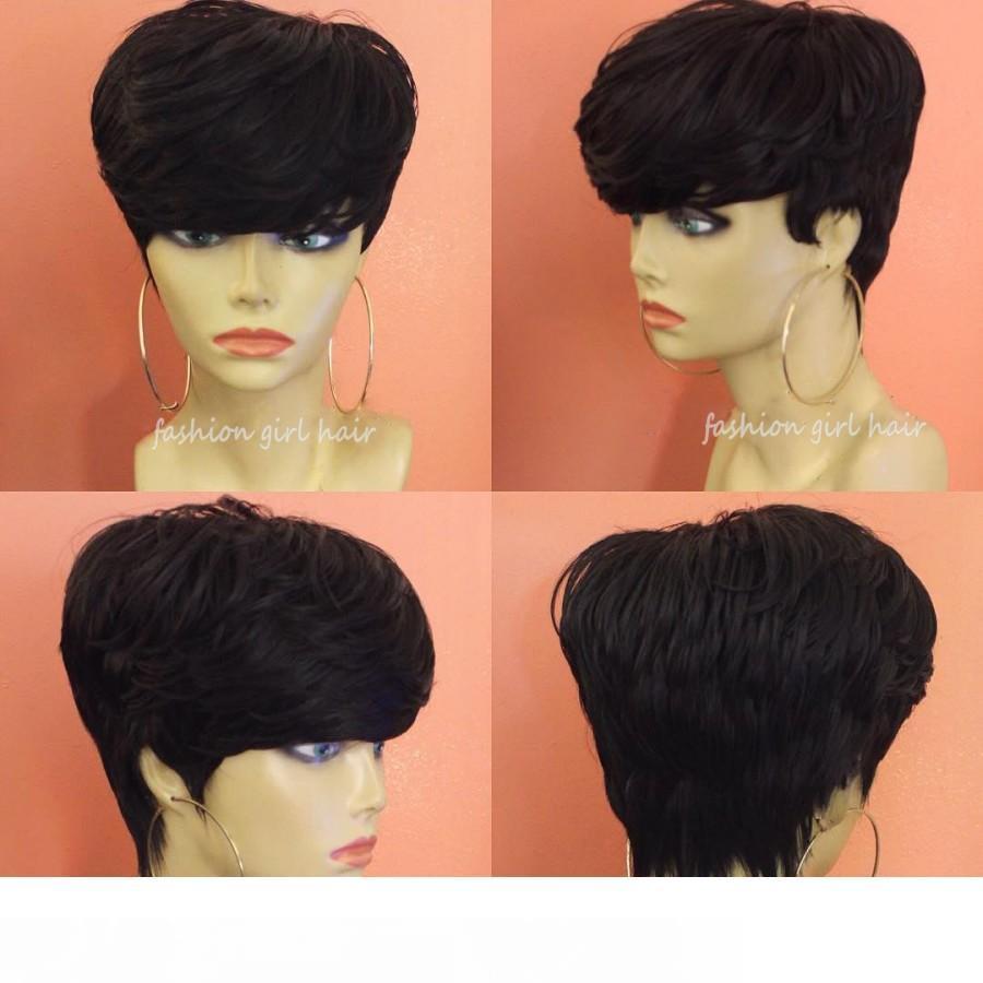 Brazilian Pixie Cut Wig Human Hair Wig With Bang Cheap Short Human