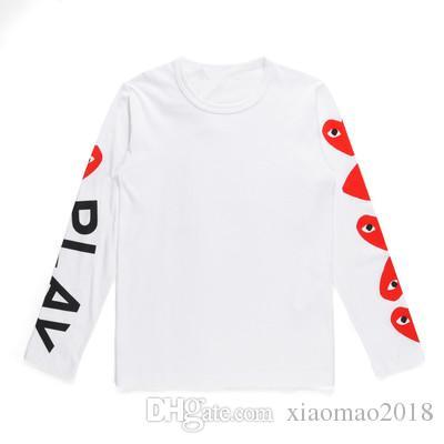Japon gc bb F Auntumn femmes T-shirt Jouer rayure vague coeur rouge Hommes joue amoureux T-Shirt broderie Sweat à manches longues Tops T-shirts à capuche