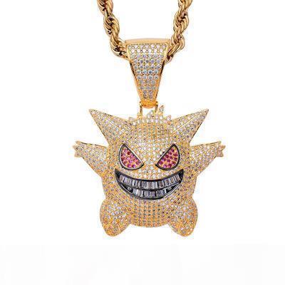 Hip Hop de la historieta del carácter colgante, collar de latón Gengar cadena de plata púrpura del chapado en oro circón micro pavimentado Hombres encanto