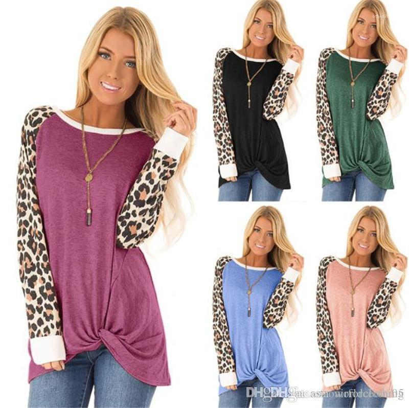 Camisetas del diseñador O Cuello de manga larga larga de las señoras camisetas de moda Color sólido femenino Tees leopardo flojo para mujer