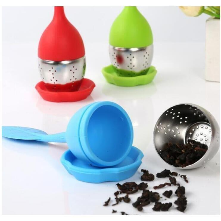 Stainless Steel Tea Filter Strainers Tools With Silicone Cover Silicone Tea Infuser Food Grade High Temperature Resistance LXL1045-1