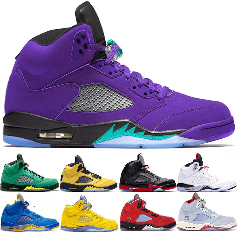 Air JD ritro 5 Mode Chaussures Hommes Chaussures de basket-5s Laney Bleu Blanc Bleu Hommes Jaune Formateurs Sport Sneaker Taille 40-47