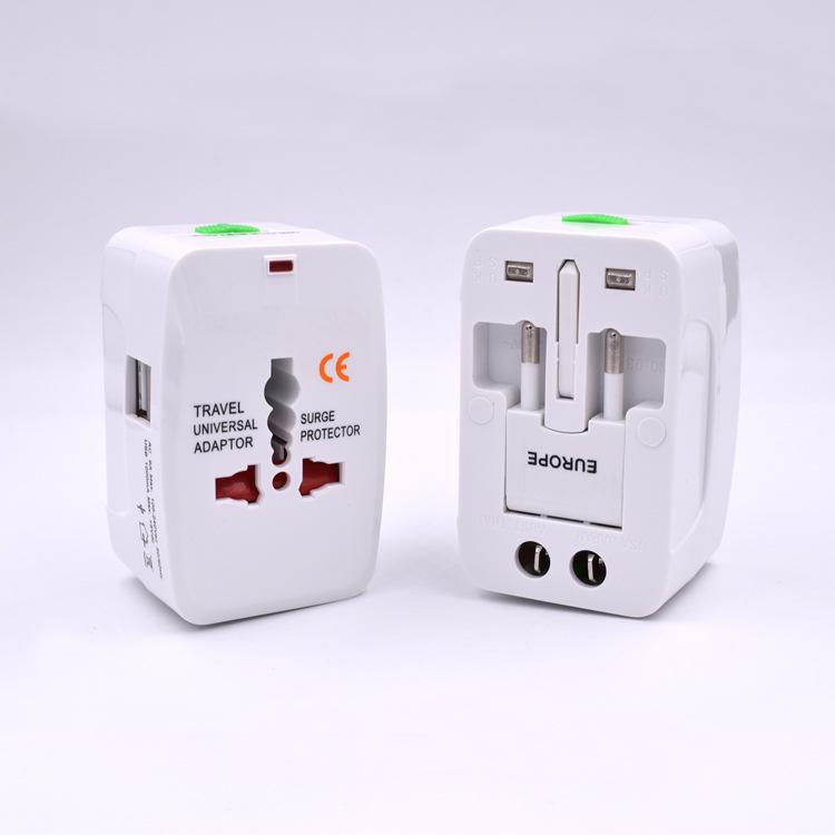 in All One International Raum-Netzstecker-Adapter Wechselstrom-Wand-Trafo mit 2 USB-Ladegerät Port-au us uk EU Steckdose Converter