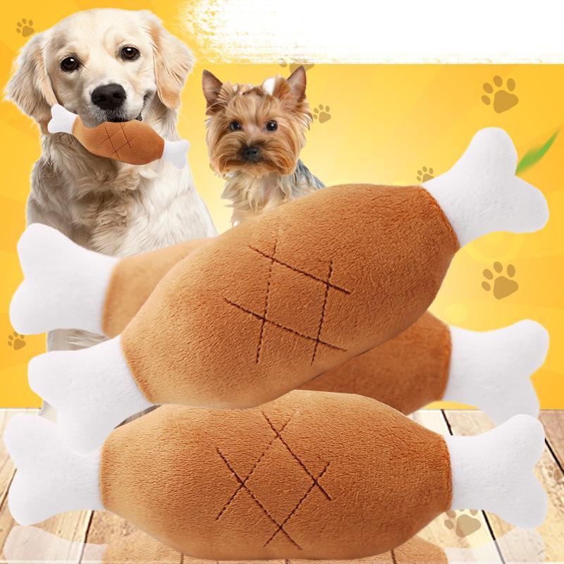 Perrito del animal doméstico Juego juguetes para masticar para perros Juguetes para los perros Gatos Mascotas Material Piernas de pollo linda felpa chillona juguete