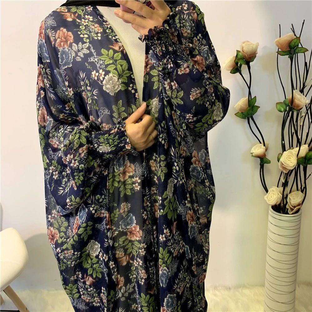 INS Foreign Trade Womens Summer Soft Chiffon Printed Muslim Islamic Robe Series 1689