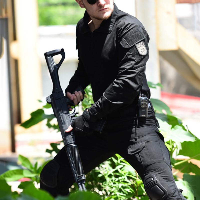Tactical Camouflage Uniform Suit Men Army SWAT Combat Shirt +Cargo Pants Knee Pads Paintball Camouflage Clothes