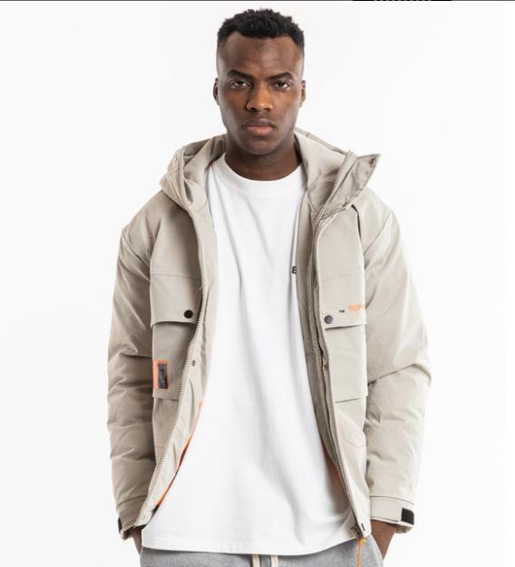 Nouveaux outils de mode multi de poche de style hip-hop coton hommes chauds de chapeau lâche et épaissie veste matelassée