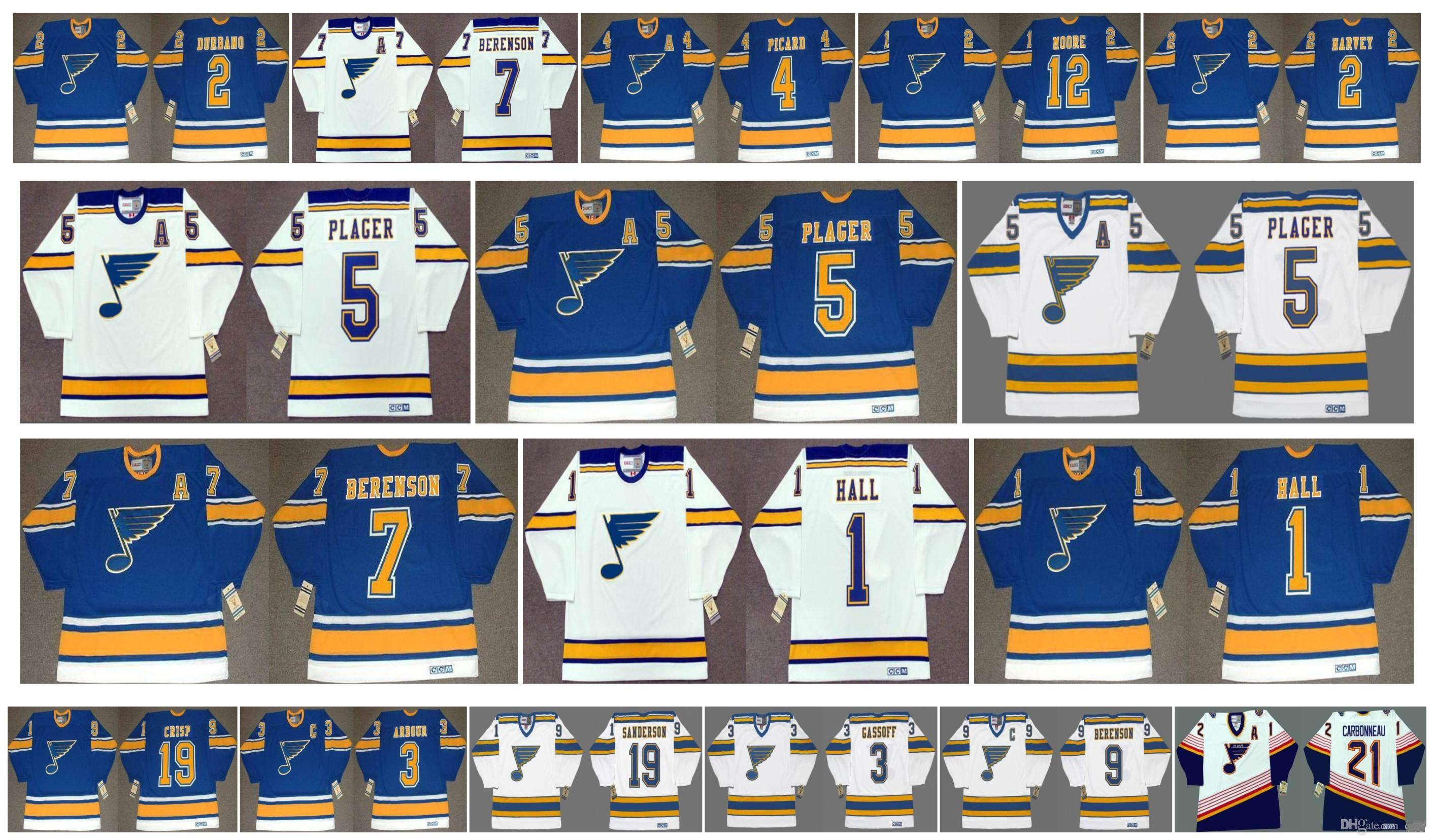 Vintage St. Louis Blues Jerseys 5 Bob Plager 1 Glenn Hall 7 Red Berenson 4 Noel Picard DICKIE MOORE 2 Doug Harvey 2 Steve Durbano CCM Hockey
