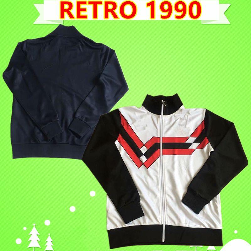1990 man UTD united retro tracksuit soccer Jersey black white jogging suits football shirt 90 training uniforms vintage adult mens jacket