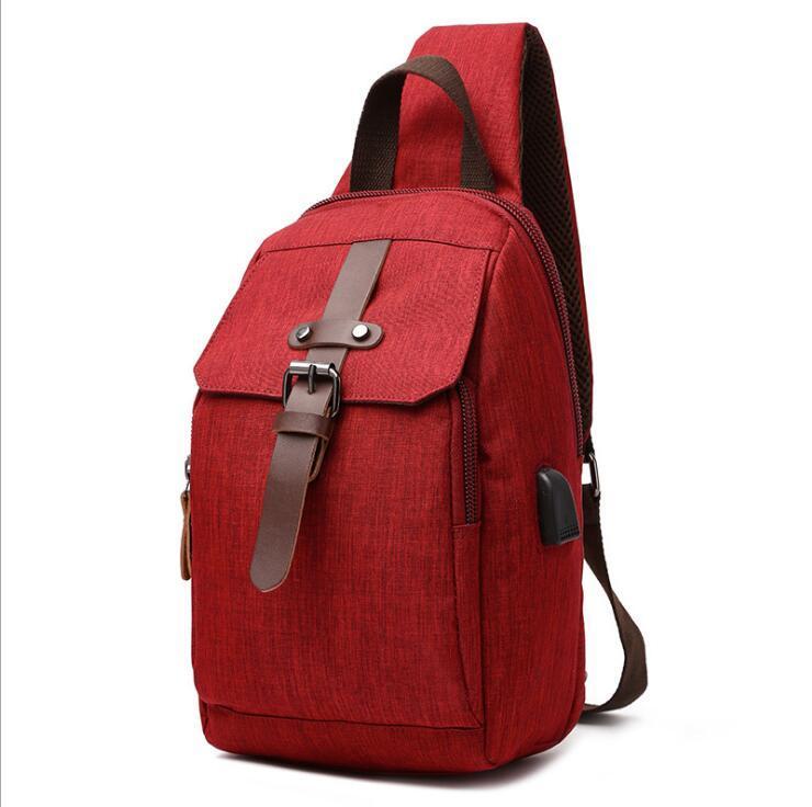 HBP Rote Rucksack-Art-Reise-Gepäck-Tasche einzelne Gurt One-Strap-Tasche Feste Farbe Splash-Proof-Rucksack für Mittelschüler frei s