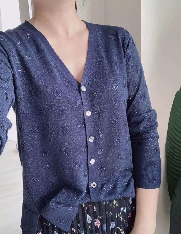 Women Sweater 2020 Summer New Solid Color V-neck Star Hot Diamond Light Knitted Long Sleeve Cardigan