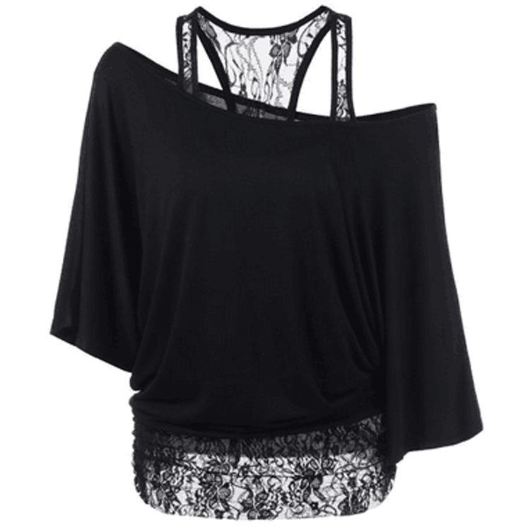 M-2XL 5 Colors Summer Off Shoulder Lace T-shirts Women Bat Sleeves Skew Collar Cotton Tops Fashion T shirt